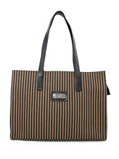 LARGE CANVAS TOTE STRIPED NATURAL EARTH TONES BLACK LEATHER