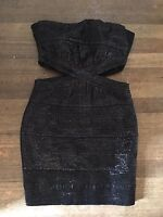 SMALL FOREVER 21 BLACK STRAPLESS SPARKLY DRESS TOWIE/CLUB/PARTY/SUMMER RRP £65