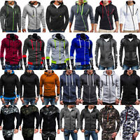 Men's Hoodie Hooded Zip Up Sweatshirt Jumper Sports Jacket Slim Fit Outwear Coat