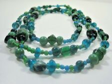 Aqua Blue Murano Art Glass Beaded Necklace & 3 Green Bracelets Hoop Earrings Set