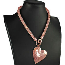Rose gold colour large hammered heart pendant on a chunky choker necklace