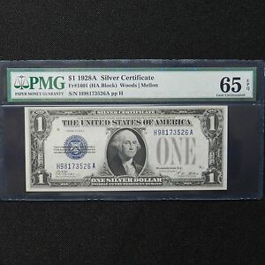 $1 1928 A Silver Cert. PMG 65 EPQ Fr#1601 (HA Block) Woods/Mellon, Funny Back