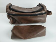 Amzbag Leather Toiletry Bag Travel Toiletry Organizer Portable Hanging (Brown)