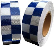 Hi Viz Intensity Blue/White Chequer tape 50mm x 2.5m Self Adhesive Reflective