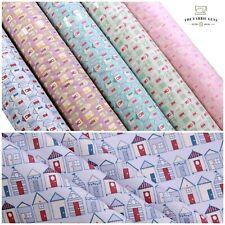 "Full Metre Printed Poplin, 100% High Quality Cotton Fabric, Beach Huts, 44"""