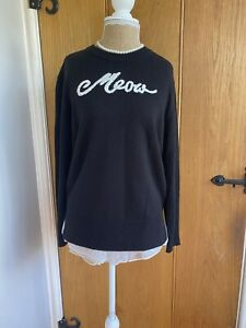 """Kate Spade Black """"Meow"""" Jumper Pullover Size Small UK 8/10/12"""