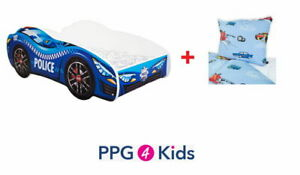 Racing Car Childrens Bed with mattress, bedding & duvet cover (140x70cm) POLICE