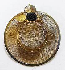 Vintage hat pin brooch gold tone mesh flower leaves and rose accent