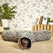 Cat Tunnel Pet Play Toy Leopard Print Tunnel Rabbit Cat Fun 3 Way Collapsible