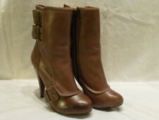 Aldo Adrayna Leather Taupe Stiletto Heel Ankle Buckle Zip Womens Boots 6.5M $140