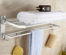 Wall Folding Hardware Bathroom Towel Rail Holder Storage Rack Shelf Bar Hanger