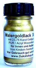 Maler-Goldlack 30ml Lack Goldanteil 23,75 Karat PUR-Acryllack für Grabmale usw