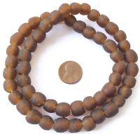 Handmade Matte Dark Amber Krobo recycled Glass African trade Beads-Ghana