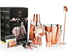 Manhattan 9pc Copper Plated Stainless Steel Cocktail Set Shaker Glass Bar Tong