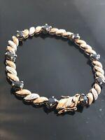 """Gilded Sterling Silver Tennis Bracelet Gemstones 7.5"""" Signed R"""