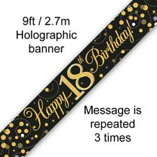 Holographic Black & Gold Happy 18th Birthday Banner 270 Cm Long Repeats 3 Times