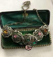 Vintage Czech Crystal Filigree Multi Coloured Necklace