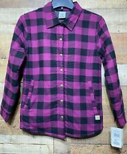 Carhartt Girls Large Size 14 Buffalo Plaid Jacket Purple & Black Coat Snap Front