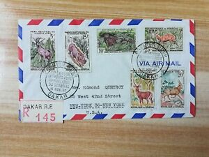 SENEGAL 1960 FAUNA ANIMALS 6V FIRST DAY POST COVER TO USA