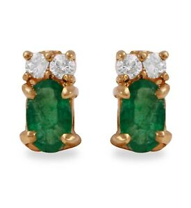 1.60 Carat Natural Emerald and Diamond in 14K Solid Yellow Gold Stud Earrings