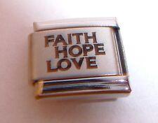 FAITH HOPE LOVE 9mm Italian Charm - fits Classic Starter Bracelets N257