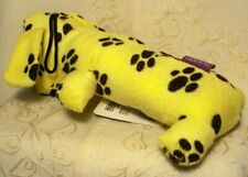"""Multipet Smiling Loofa Loofha Fetch Chew Crinkle Squeaky Dog Toy Yellow 6"""" long"""