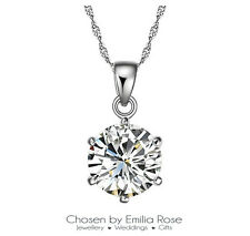 925 Sterling Silver Cubic Zirconia Crystal Pendant Necklace Jewelry Bridesmaid