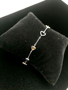 TIFFANY & Co. Open Hearts 18K White/Yellow Bracelet Bangle - 7.5 Inch Length
