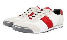 AUTHENTIC LUXURY PRADA SNEAKERS SHOES 4E3110 WHITE RED NEW US 10 EU 43 43,5