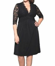 Knee Length Polyester/Elastane Plus Size Dresses for Women