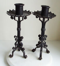PAIR OF CAST IRON METAL CANDLESTICKS GOTHIC STYLE 34cm TALL
