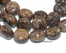 TOFFEE BAR BRONZITE GEMSTONE CIRCLE COIN BUTTON 6MM LOOSE BEADS 8""