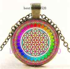Vintage Flower of Life Photo Cabochon Glass Bronze Chain Pendant Necklace
