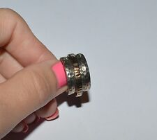 SILPADA STERLING SILVER AND 14 K GOLD PLATED HAMMERED DOUBLE BAND RING SIZE 6