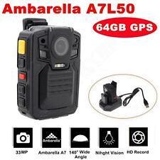64GB+GPS Ambarella A7L50 HD 1296P Police Body Worn Camera IR Light 8Hours 140°
