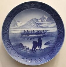 1968 Royal Copenhagen Christmas Plate THE LAST UMIAK w/ Dog