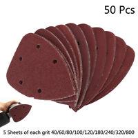 50pc Mouse Sanding Sheets Discs Fit Black and Decker Detail Palm Sander Pads