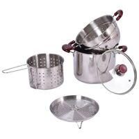 Stainless Steel Pasta Cooker Set Stock Strainer Pot 7 Quart with Lid Steamer Kit