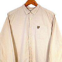 Lyle & Scott Beige & White Check Long Sleeve Button Up Shirt - Mens XL Slim Fit