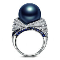 Retro 925 Silver Blue Pearl White Topaz Zircon Ring Charm Jewelry Size 6-10