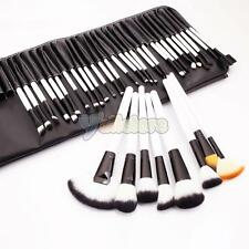 36PCS WOOD MAKEUP BRUSHES PROFESSIONAL COSMETIC TOOL SET + POUCH BAG CASE WHITE