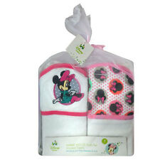 2-PACK Disney Baby Girl Minnie Mouse Baby Bath Hooded Towels Gift Set - Pink NEW