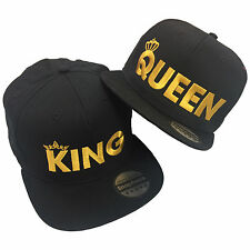 King Queen Pair Embroidered Rapper Cap Set - Flat Peak Snapback Fashion Hats