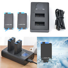 Dual Batteries Charger & Battery 1400mAh for GoPro MAX Panoramic Action Camera