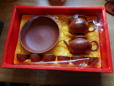 Vintage Chinese Yixing Brown Pottery Tea Set