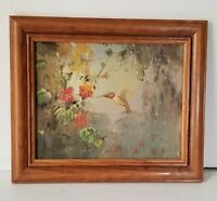 """hand-Painted Hummingbird in Panel Canves oil Painting in Wooden Frame 12"""" Long"""