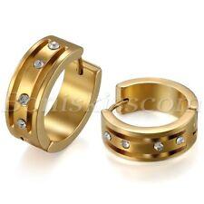 Wide Polished Gold Tone Stainless Steel Rhinetone Huggie Hoop Earrings Studs