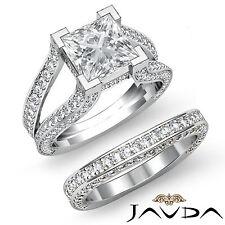 Split Shank Princess Diamond Engagement Ring Bridal Set GIA I VS2 Platinum 3.3ct