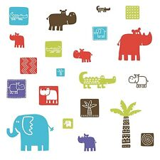 SAFARI ANIMALS 27 BiG Wall Stickers Baby Zoo NEW Decals