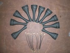 10 PCs Carbon Fiber Violin Tailpiece 4/4 with 10 PCs Violin tail guts 4/4